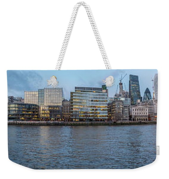 Large Panorama Of Downtown London Betwen The London Bridge And T Weekender Tote Bag