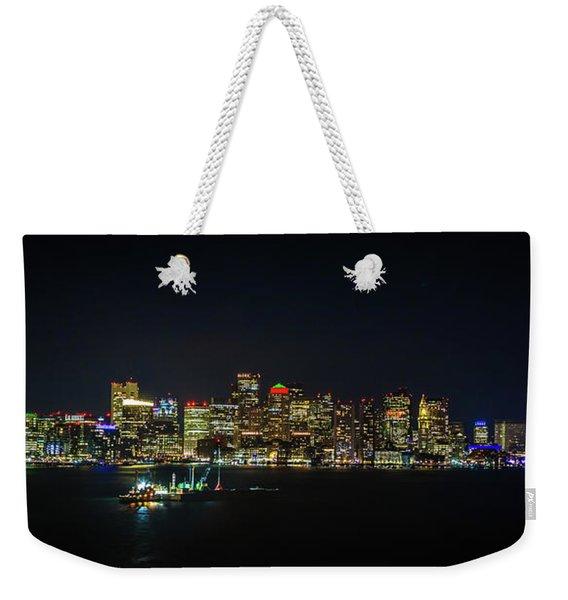 Large Panoramic Of Downtown Boston At Night Weekender Tote Bag