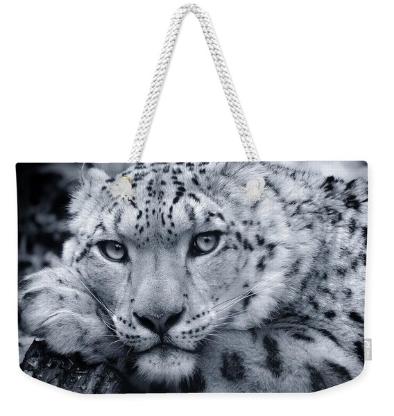 Large Snow Leopard Portrait Weekender Tote Bag