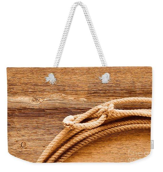 Lariat On Wood - Sepia Weekender Tote Bag