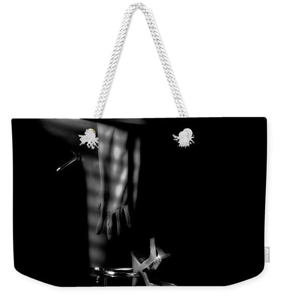 Last Call In Black And White Weekender Tote Bag