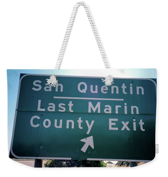 Weekender Tote Bag featuring the photograph Last Marin County Exit by Frank DiMarco