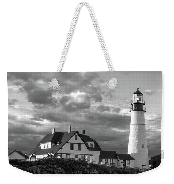Weekender Tote Bag featuring the photograph Late Afternoon Clouds, Portland Head Light  -98461-sq by John Bald