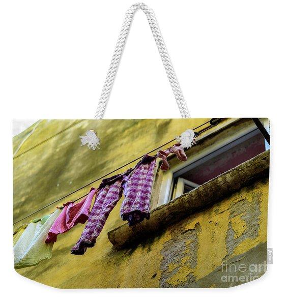 Laundry Hanging In Rovinj, Croatia Weekender Tote Bag