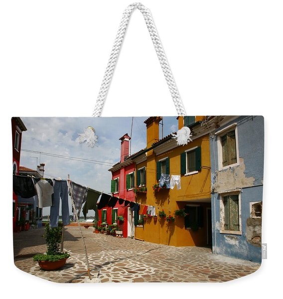 Laundry Held By Wooden Pole Weekender Tote Bag