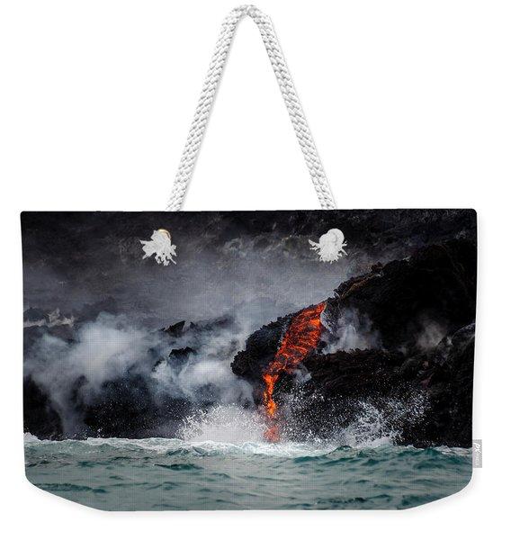 Lava Dripping Into The Ocean Weekender Tote Bag