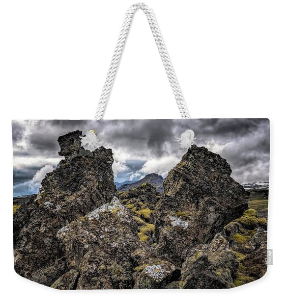 Lava Rock And Clouds Weekender Tote Bag
