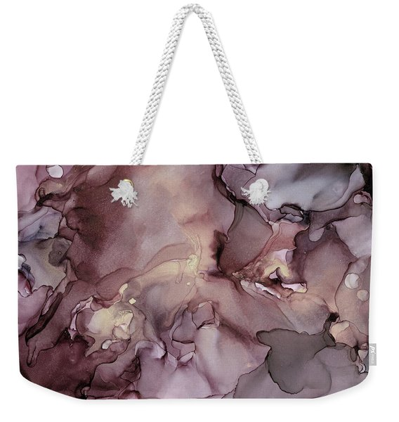 Lavender Gold Swirls Ink Abstract Painting Weekender Tote Bag