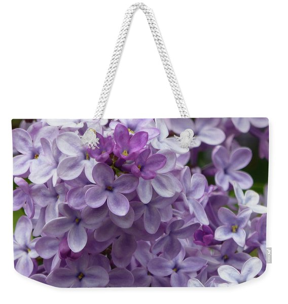 Weekender Tote Bag featuring the photograph Lavender Lilacs by Cris Fulton