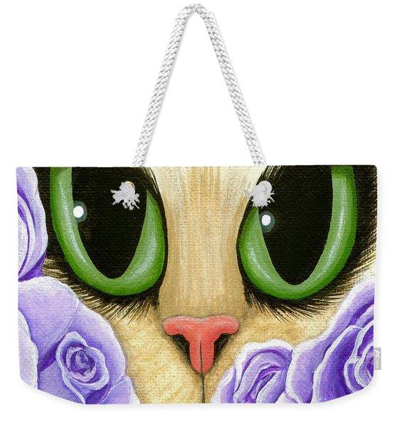 Lavender Roses Cat - Green Eyes Weekender Tote Bag