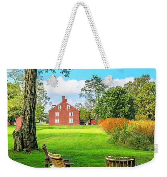 Weekender Tote Bag featuring the photograph Adirondack Chair Viewing by Richard J Thompson