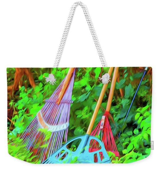 Weekender Tote Bag featuring the photograph Lawn Tools by Tom Singleton