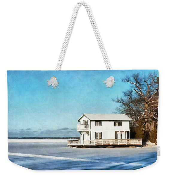 Leacock Boathouse In Winter Weekender Tote Bag