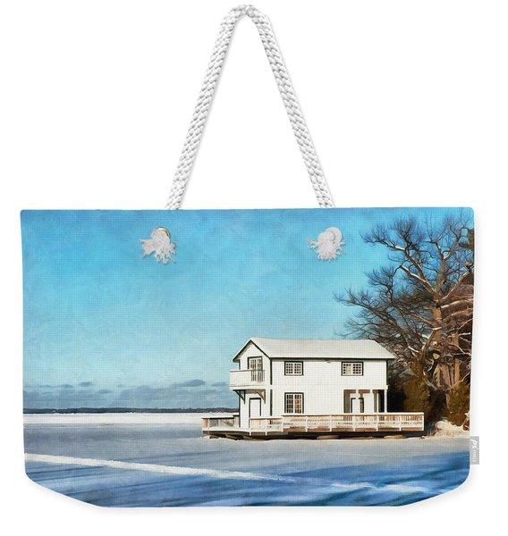 Leacock Boathouse In Winter Weekender Tote Bag