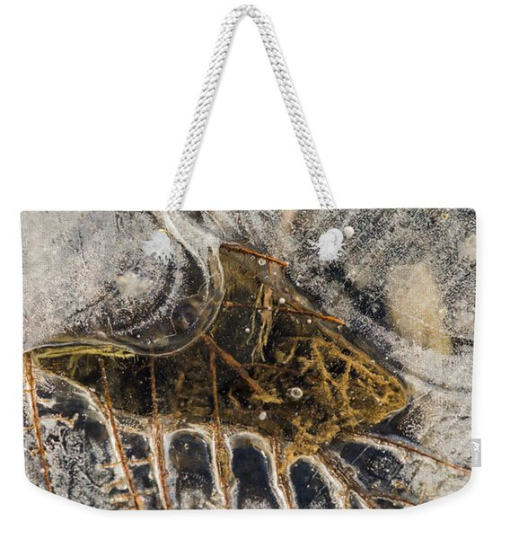 Leaf Veins In Ice Weekender Tote Bag