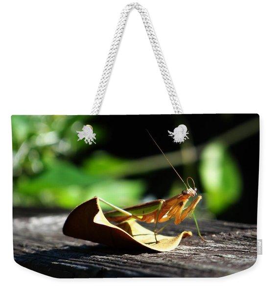 Leafy Praying Mantis Weekender Tote Bag