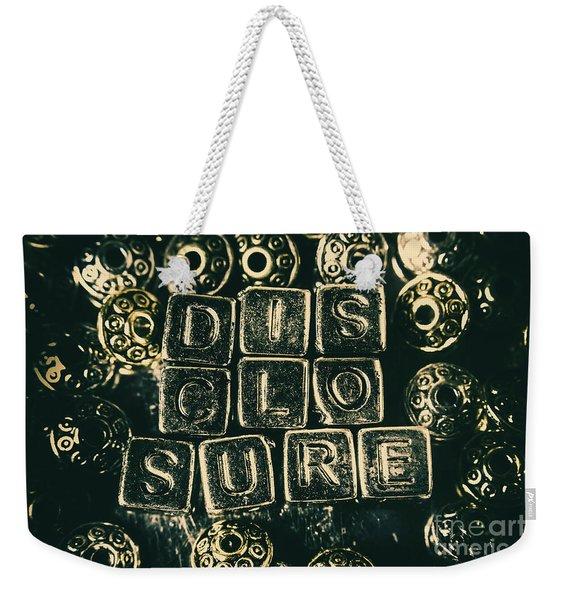 Learning Blocks Of Disclosure Weekender Tote Bag