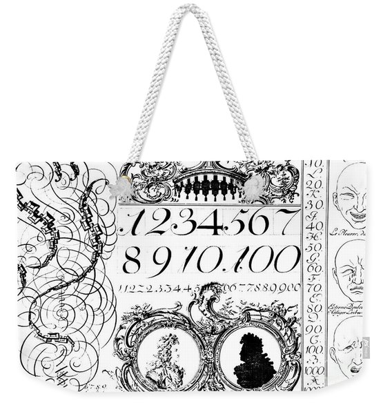 Learning Mathematics, Illustration From A Franco-german Book, Early 18th Century Weekender Tote Bag