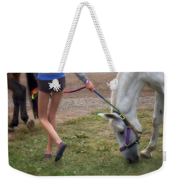 Weekender Tote Bag featuring the photograph Legs by Mary Lee Dereske