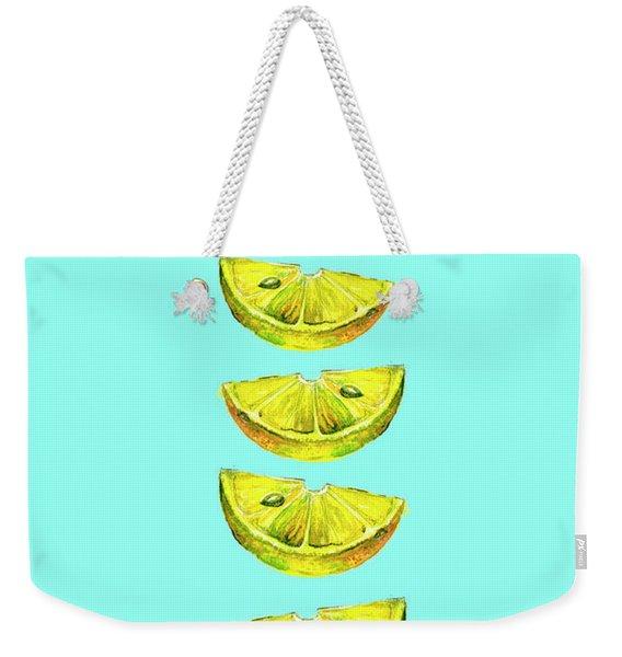 Lemon Slices Turquoise Weekender Tote Bag