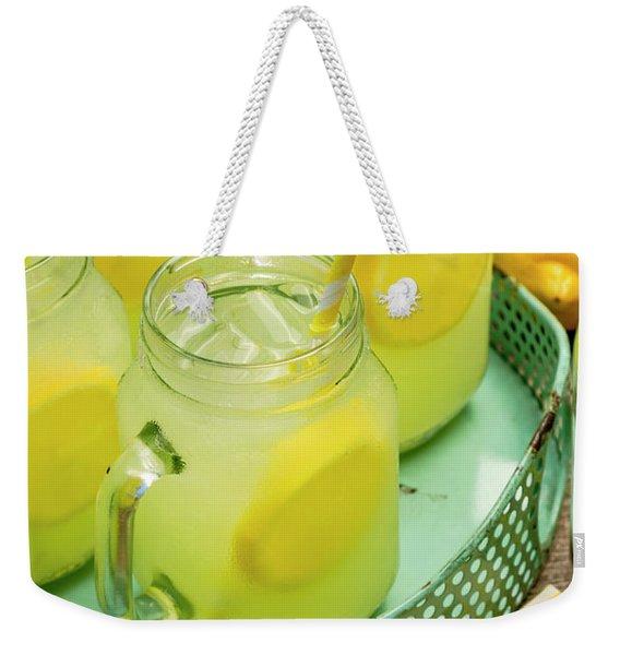 Lemonade In Blue Tray Weekender Tote Bag