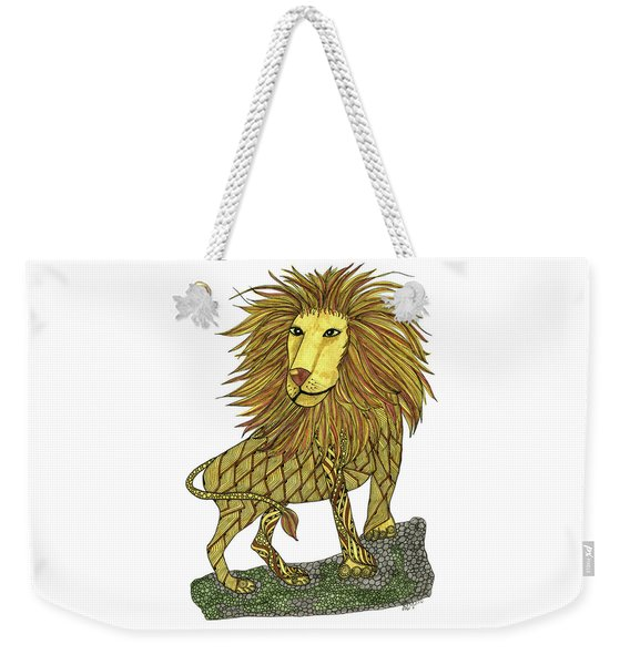 Weekender Tote Bag featuring the drawing Leo by Barbara McConoughey