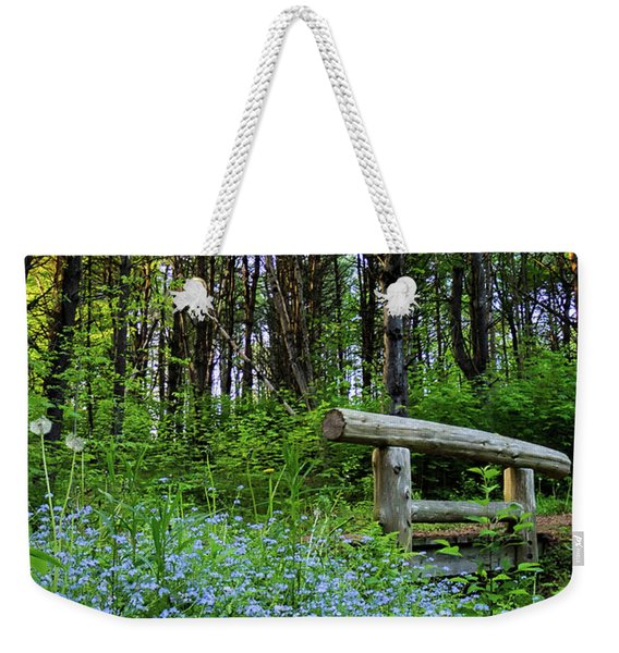 Weekender Tote Bag featuring the photograph Leon Gorman Park Trail, Freeport, Maine  #50600 by John Bald