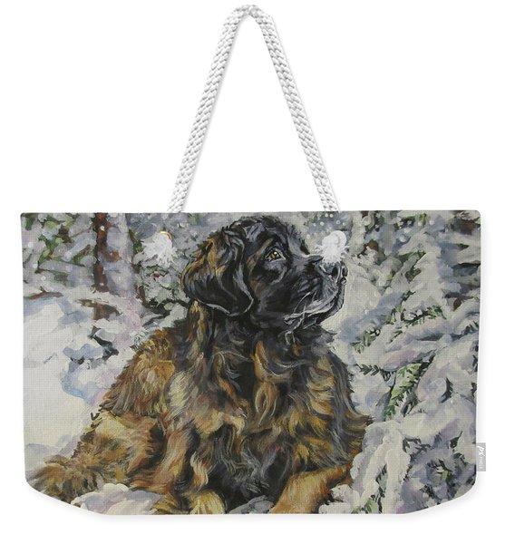 Leonberger In The Snow Weekender Tote Bag