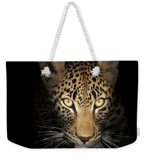 Leopard In The Dark Weekender Tote Bag