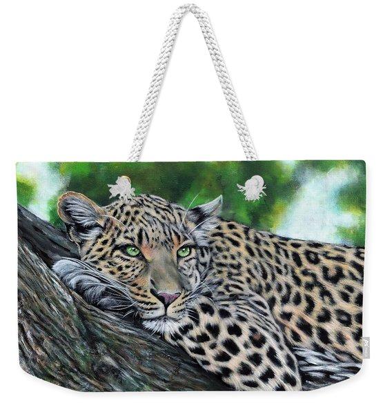 Leopard On Branch Weekender Tote Bag