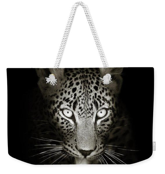 Leopard Portrait In The Dark Weekender Tote Bag