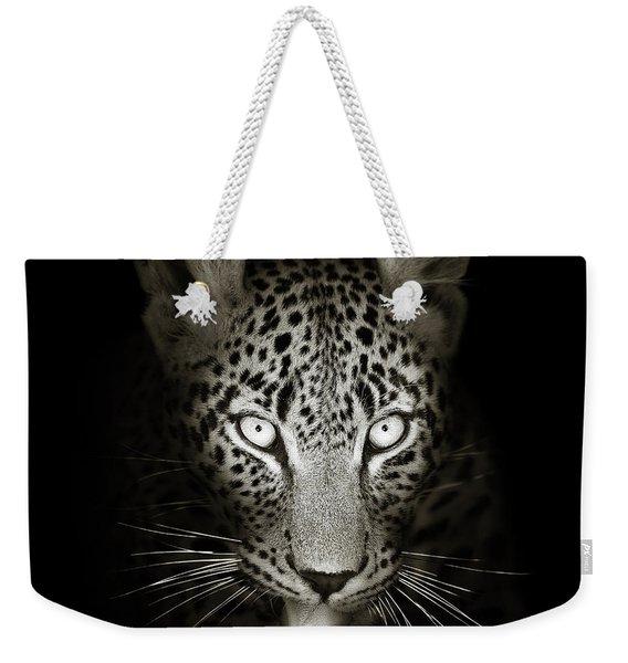 Leopard Portrait In The Dark Weekender Tote Bag