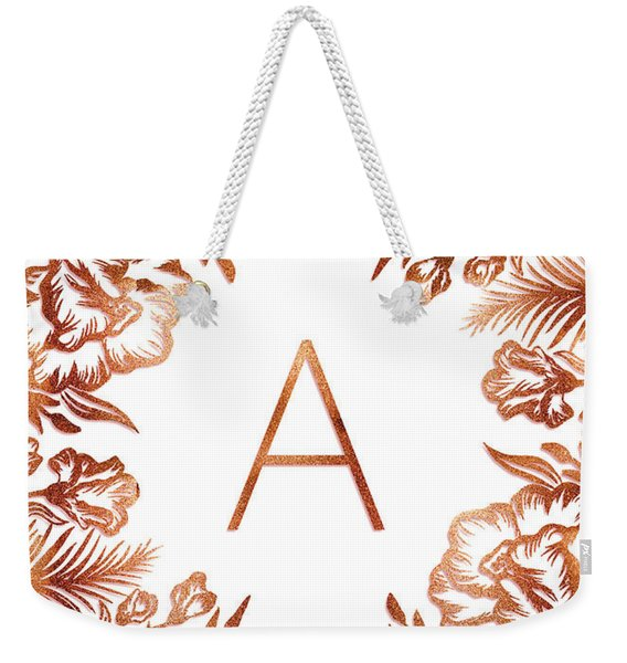 Letter A - Rose Gold Glitter Flowers Weekender Tote Bag