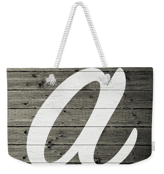 Letter A White Paint Peeling From Wood Planks Weekender Tote Bag