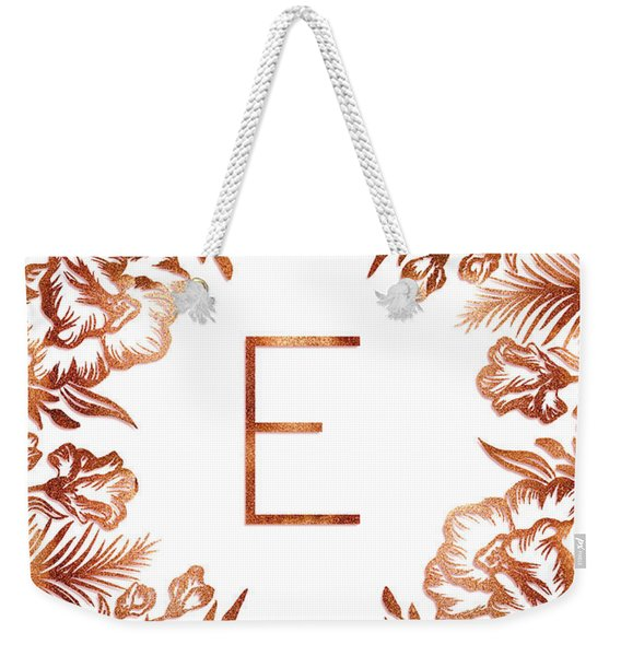 Letter E - Rose Gold Glitter Flowers Weekender Tote Bag