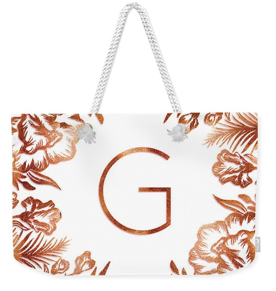 Letter G - Rose Gold Glitter Flowers Weekender Tote Bag