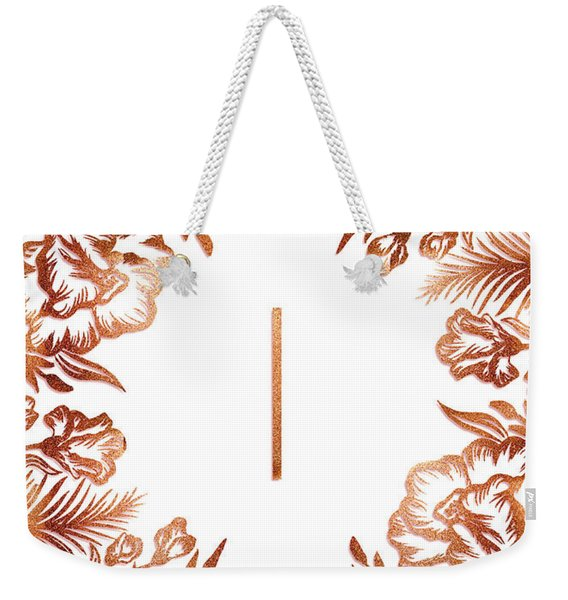 Letter I - Rose Gold Glitter Flowers Weekender Tote Bag