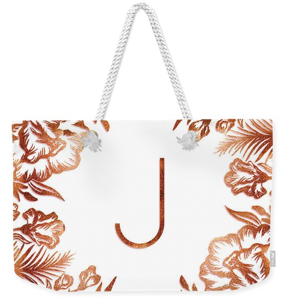 Letter J - Rose Gold Glitter Flowers Weekender Tote Bag