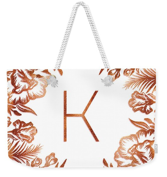 Letter K - Rose Gold Glitter Flowers Weekender Tote Bag