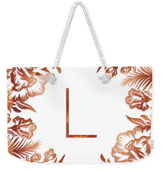 Letter L - Rose Gold Glitter Flowers Weekender Tote Bag