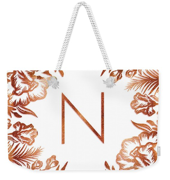 Letter N - Rose Gold Glitter Flowers Weekender Tote Bag