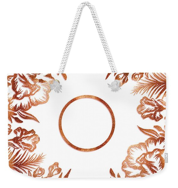 Letter O - Rose Gold Glitter Flowers Weekender Tote Bag
