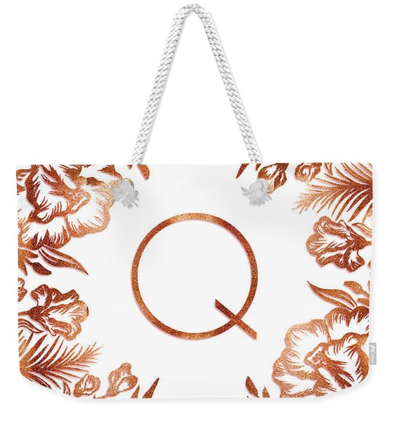 Letter Q - Rose Gold Glitter Flowers Weekender Tote Bag