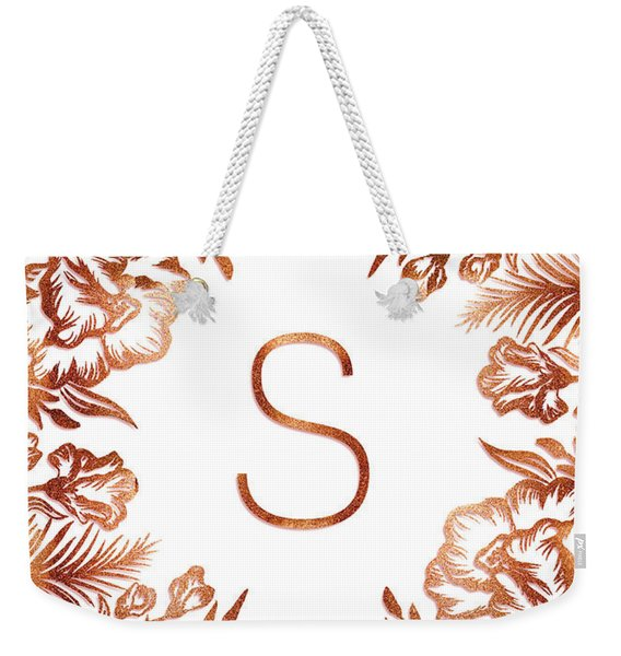 Letter S - Rose Gold Glitter Flowers Weekender Tote Bag