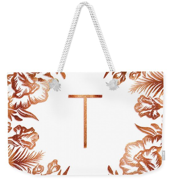 Letter T - Rose Gold Glitter Flowers Weekender Tote Bag