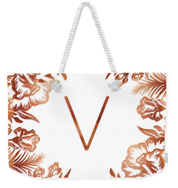 Letter V - Rose Gold Glitter Flowers Weekender Tote Bag