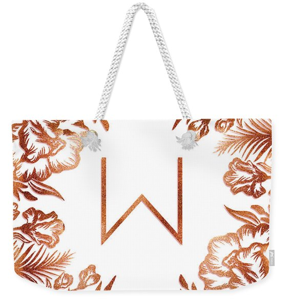Letter W - Rose Gold Glitter Flowers Weekender Tote Bag