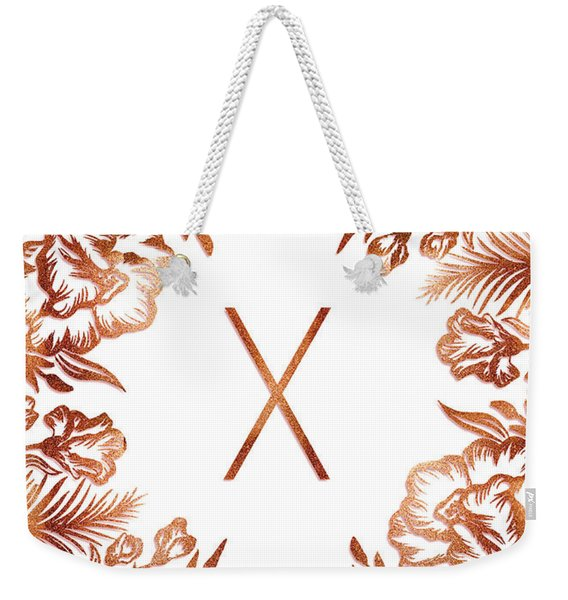 Letter X - Rose Gold Glitter Flowers Weekender Tote Bag