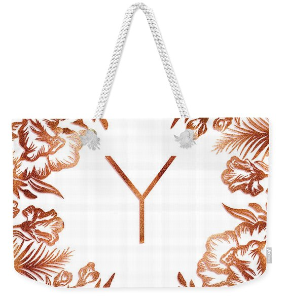 Letter Y - Rose Gold Glitter Flowers Weekender Tote Bag