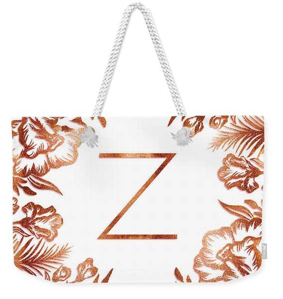 Letter Z - Faux Rose Gold Glitter Flowers Weekender Tote Bag